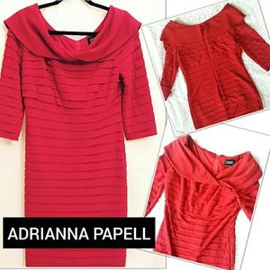 Size 10 Adrianna Pappell Red Shutter Pleat Dress